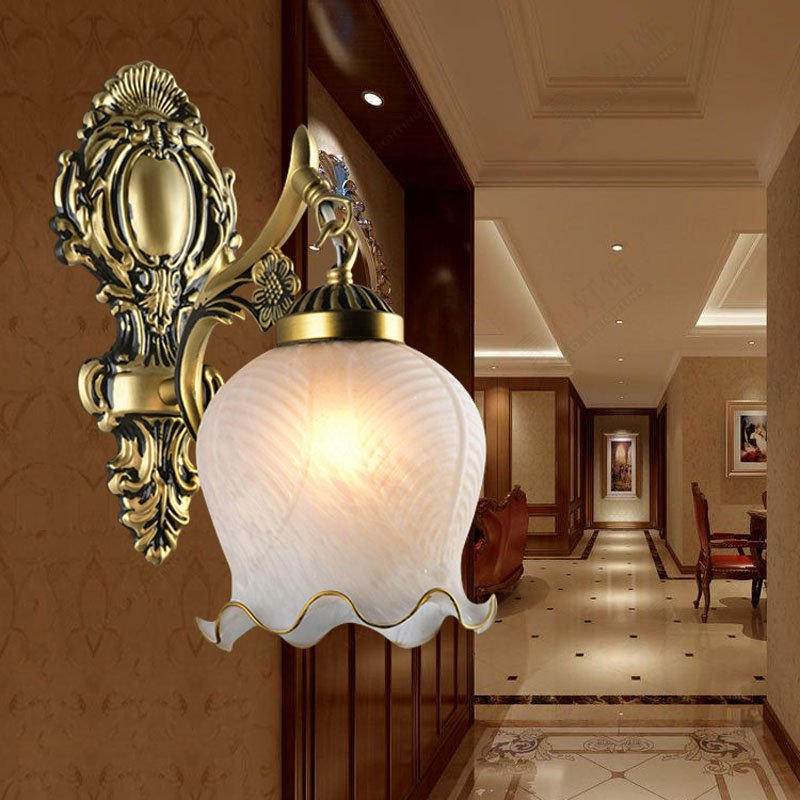Vintage Free Shipping Bedroom Snow Glass Wall Light Traditinal Europe Kirsite Hallway gallery Bathroom Wall lamp Contracted Lamp - 5