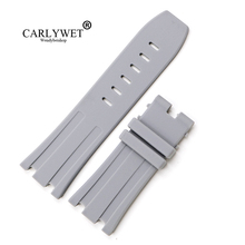 CARLYWET 28mm Grey Waterproof Silicone Rubber Replacement Wrist Watch Band Strap Belt for Offshore 42mm