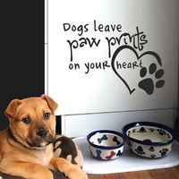 BATTOO Dog Wall Decal Quote- Dogs Leave Paw Prints On Your Heart- Dog Lover Gift Pet Wall Decal Bedroom Kids Home Decor
