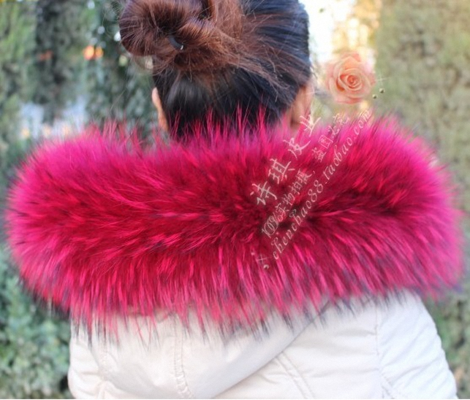 Colorful Genuine Raccoon Fur Collar & Women Scarfs Fashion Coat Sweater Scarves  Luxury Raccoon Fur Neck Cap TKC003-rose