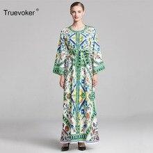 Truevoker Autumn Designer XXL XXXL Retro Resort Maxi Dress Women s Vintage  Porcelain f7542e37c028
