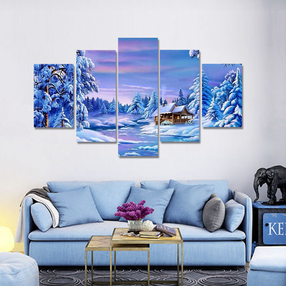 Unframed HD Canvas Prints Snowy Riverside Scenery Houses Cedar Prints Wall Pictures For Living Room Wall Art Decoration
