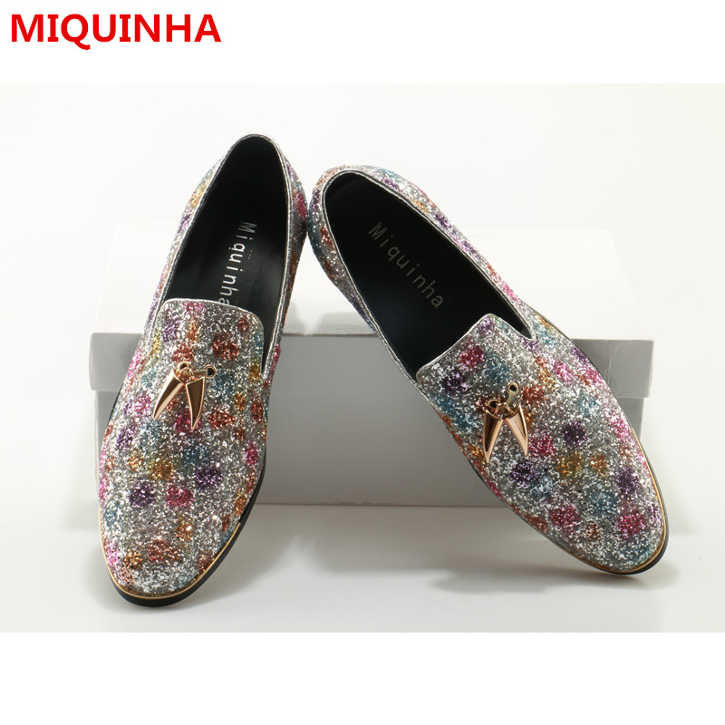 2017 Hot Shoes Man Casual Cozy Loafers Man Flats Glitter Round Toe Designer Smoking Slippers Man Lazy Flats Male Shoes Plus Size women flats shoes woman spring glitter casual loafers black golden bling glitter flats lazy shoes size 36 40