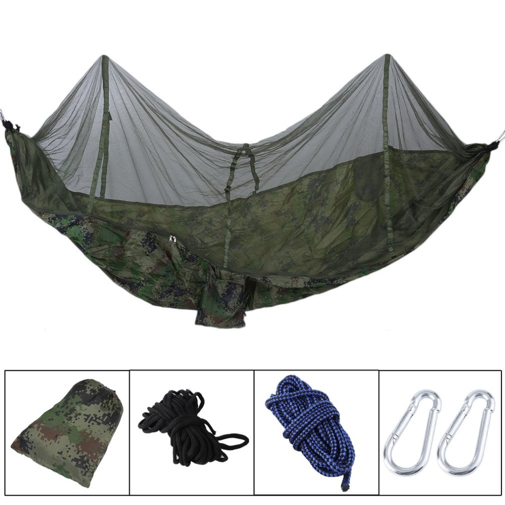 Portable Outdoor Garden Jungle Camping Sleeping Parachute Tent Hammock Bed With Mosquito Net Scheme Sack 260*140cm Patio Swings 2 people portable parachute hammock outdoor survival camping hammocks garden leisure travel double hanging swing 2 6m 1 4m 3m 2m