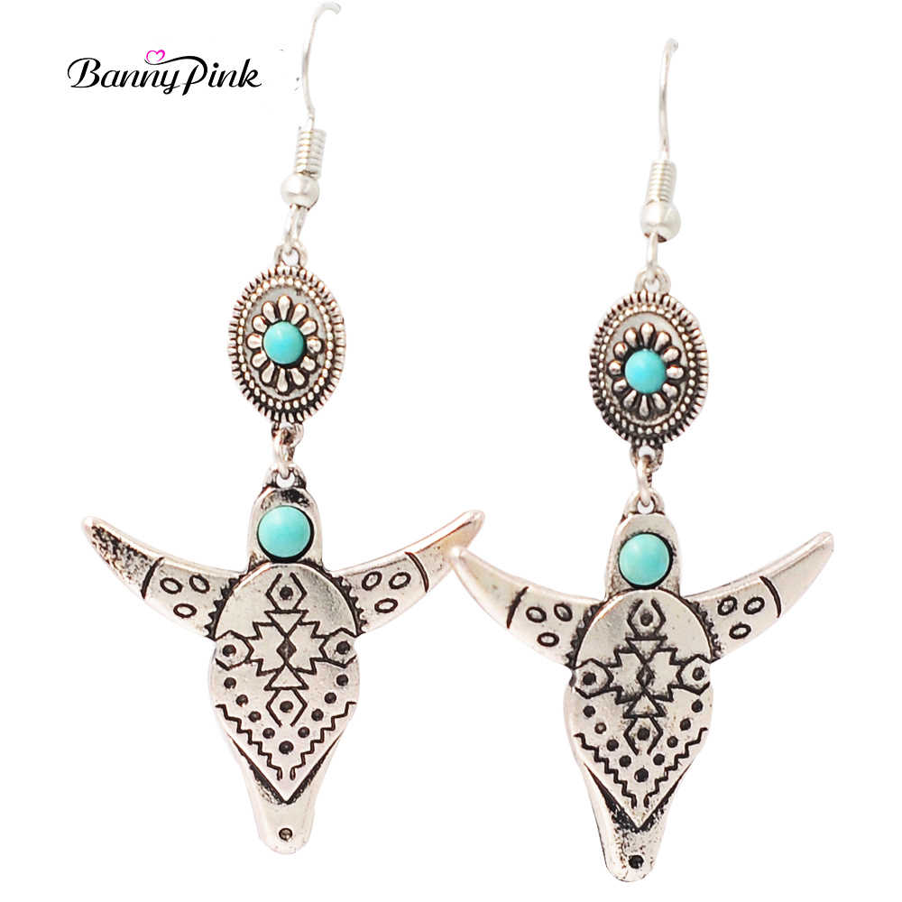 Banny Pink Vintage Indian Pattern Ox Dangle Earrings For Women Ethnic Geo Metal Pendant Drop Earrings Fashion Jewelry Pendientes