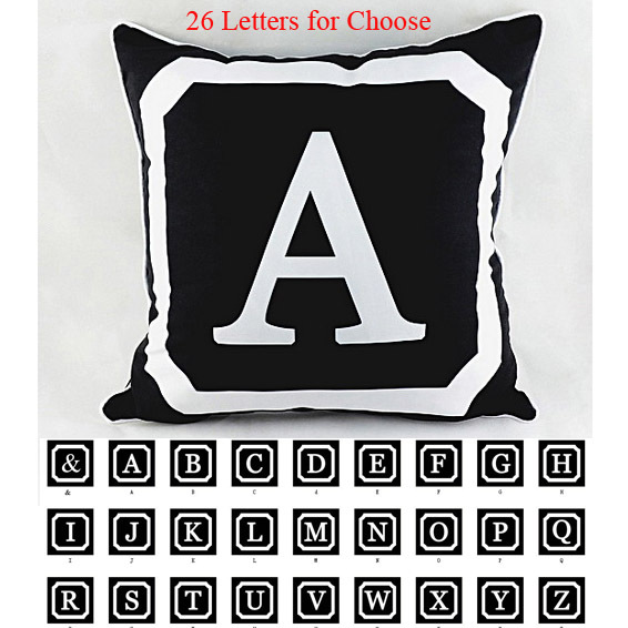 """18"""" *18 """" Decorative Monogrammed Initials Throw Cushion Cover Pillowcase for Couch almofadas decorativas , 26 Upper Case Letters"""