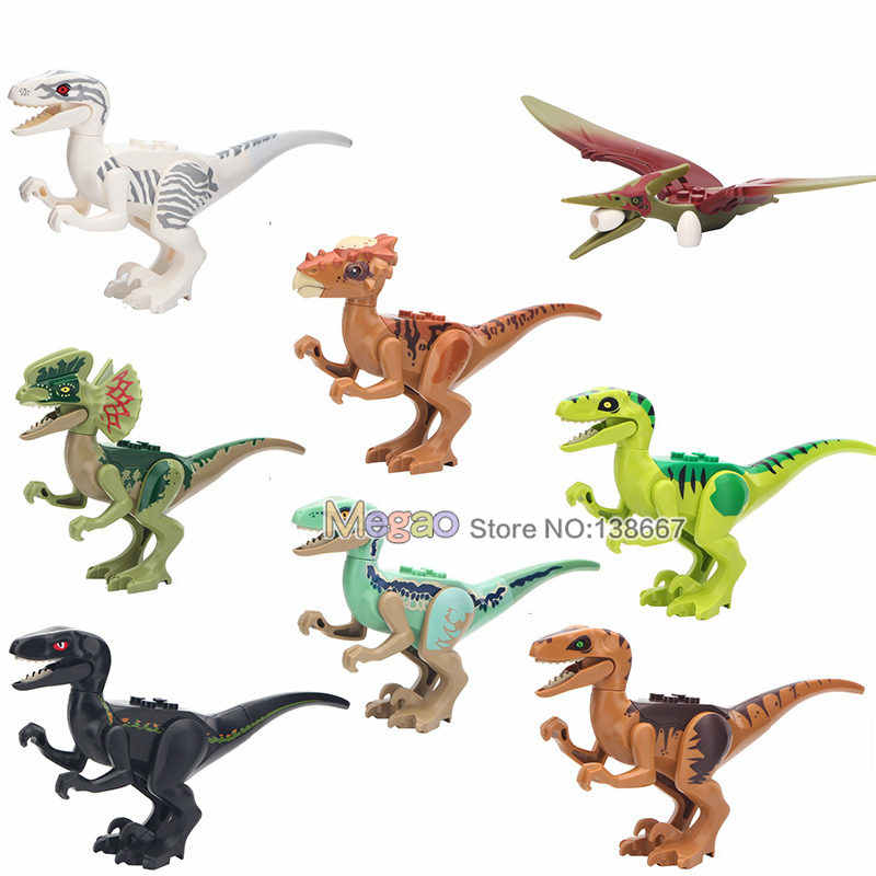 Single Sale Dinosaurs Tyrannosaurus Rex Velociraptor Triceratops Dinosaurs  Building Blocks Toys For Children