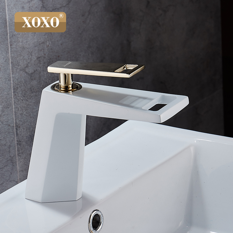 Image 4 - XOXO black white bathroom basinfaucet Hollow shape bath Waterfall faucets single handle water mixer tap 80015-in Basin Faucets from Home Improvement