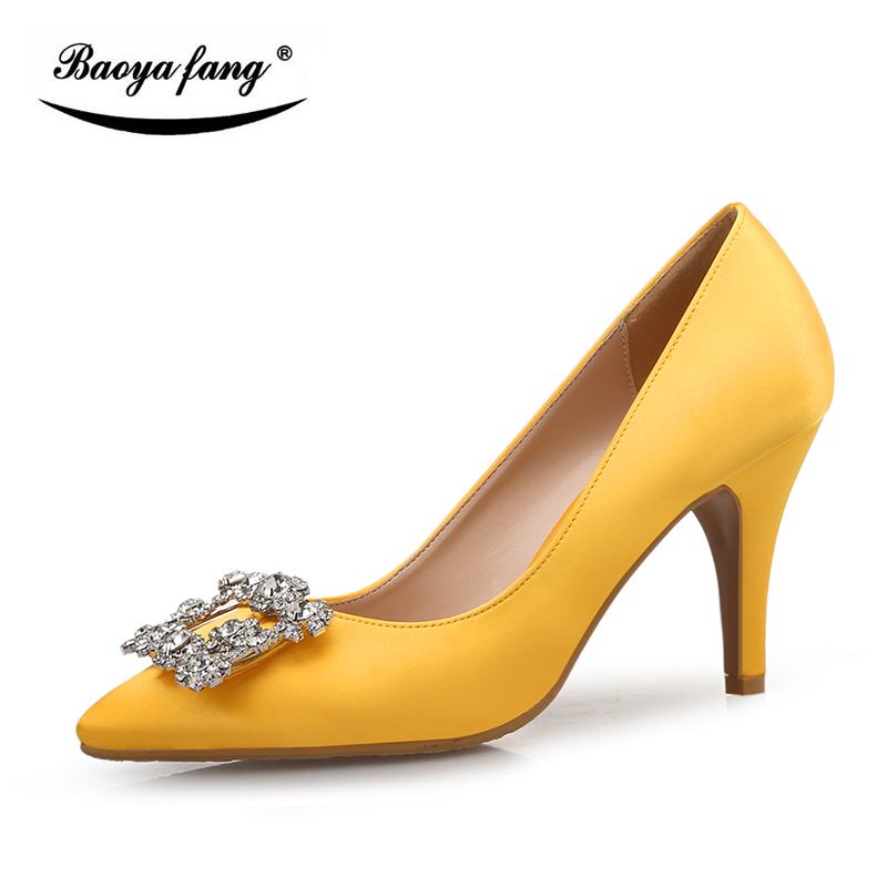New arrival Yellow and Pink crystal Buckle shallow mouth Pumps woman high heels 7cm pointed toe