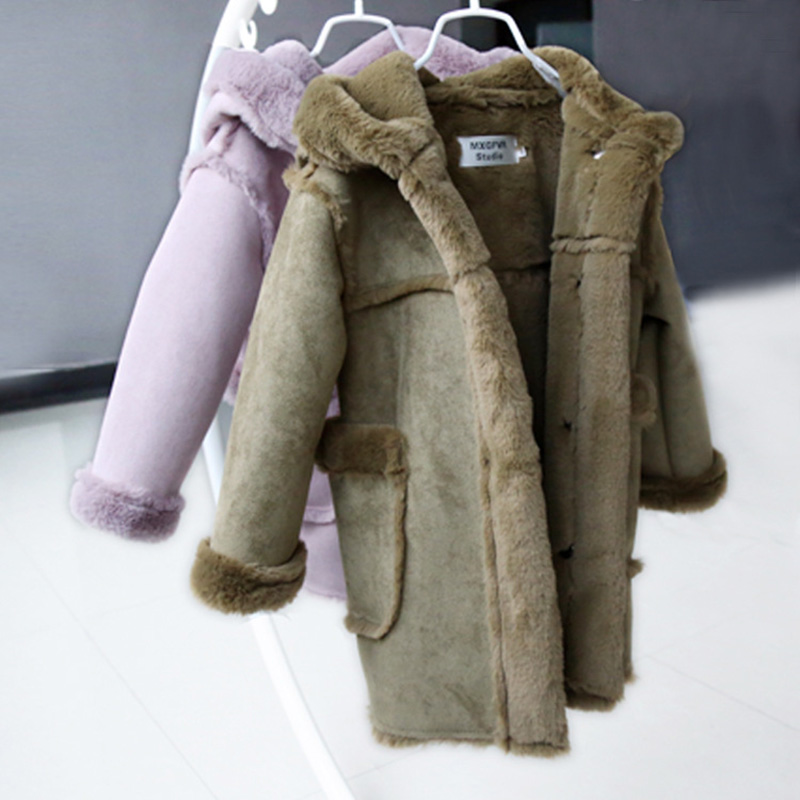 Winter children's fur coat long style boy leather clothing hooded girl faux fur jacket thickening plus velvet cotton outerwear цена 2017