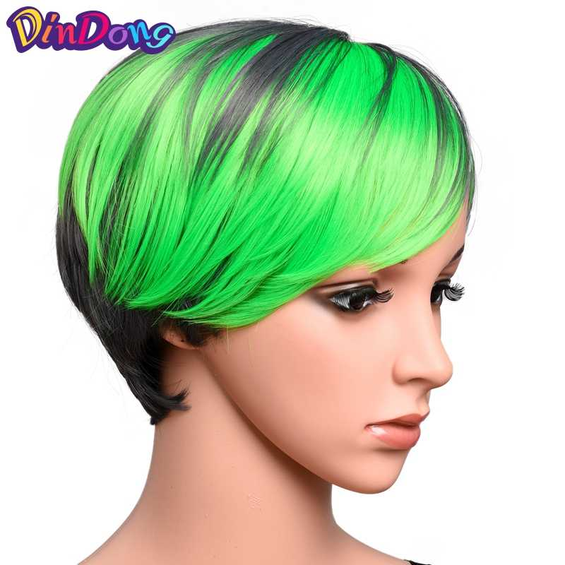 DinDong розовый боб парик с челкой короткие Pixie Cut парики термостойкий синтетический маскарадный парик для вечеринки синий блонд зеленый