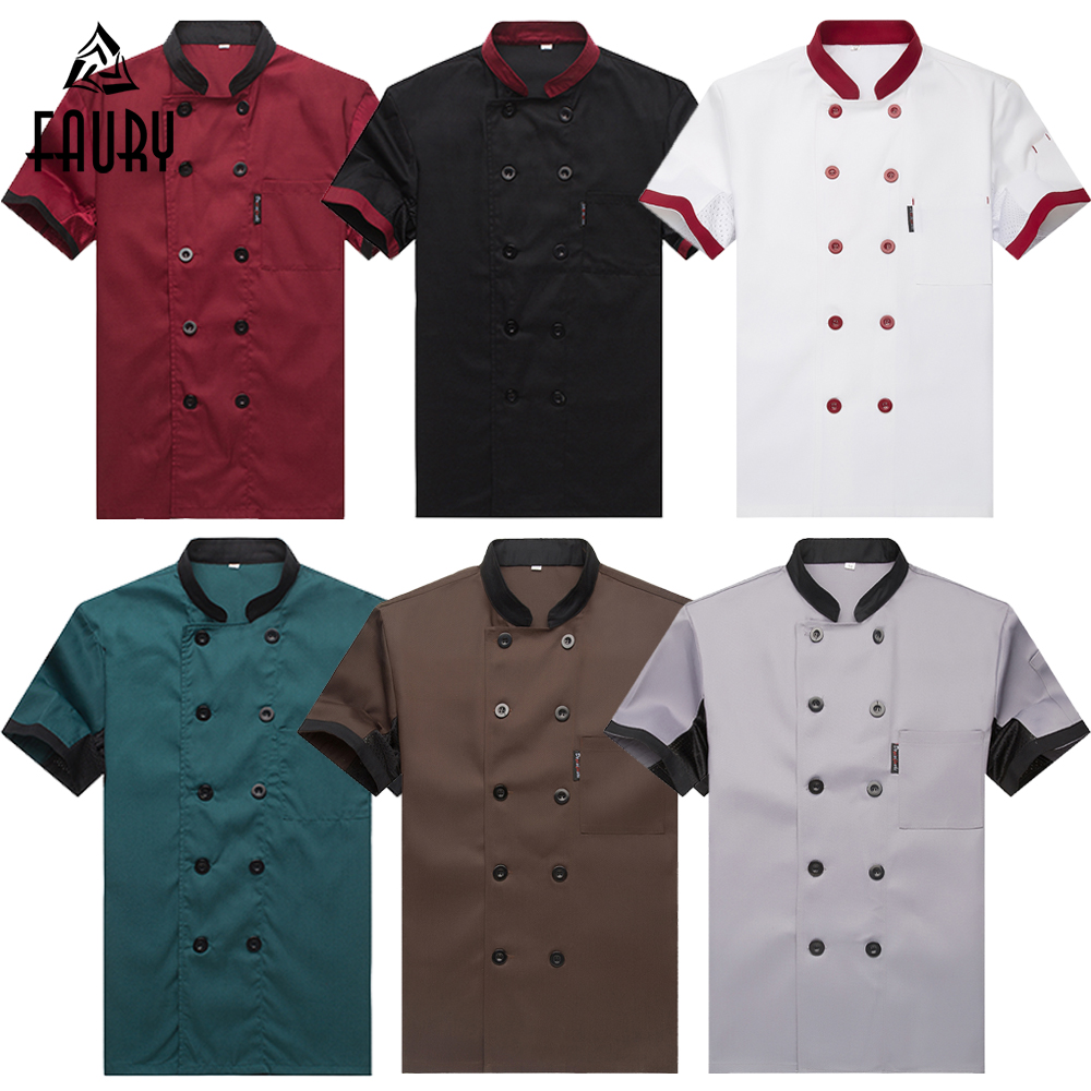 Breathable Mesh Patchwork Short Sleeve Check Kitchen Cooking Uniforms Catering Hotel Restaurant Waiter Work Clothing Overalls