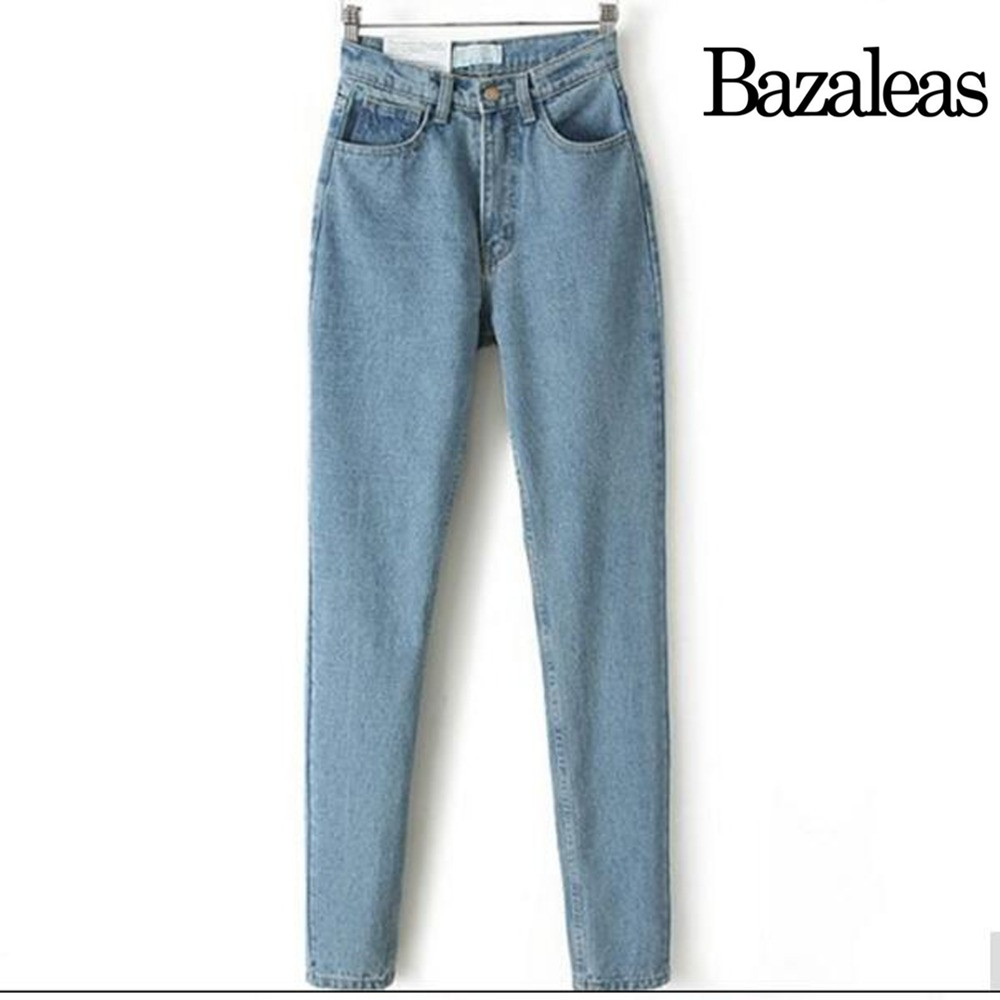 2017 summer style Bazaleas Cowboy Europe and the new fashion retro waisted Jean Haren pants jeans
