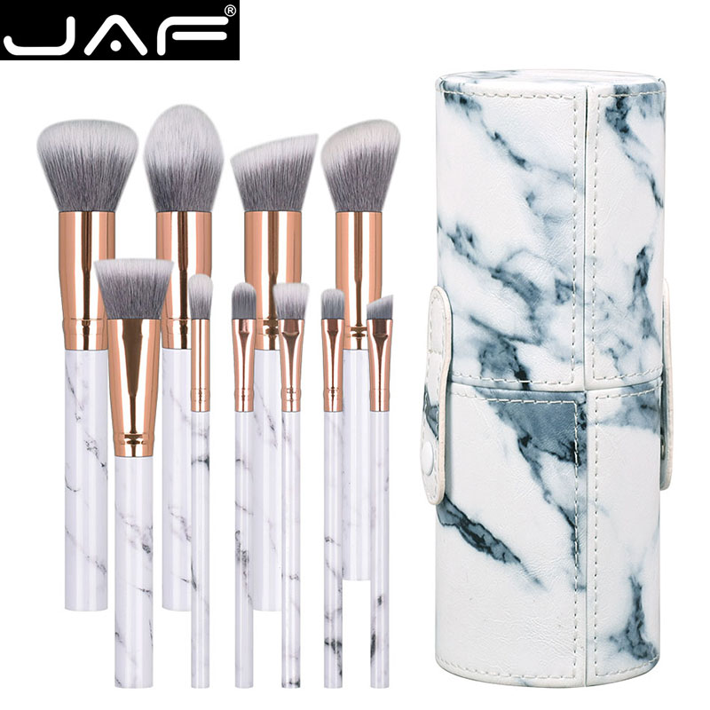 JAF 10pcs Marble Makeup Brush With Holder, Rose Gold Make Up Brushes With Holder, Synthetic Makeup Brushes Case J1024-D