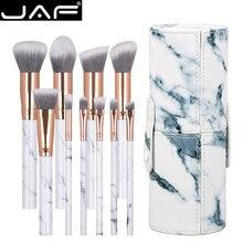 JAF 10pcs Marble makeup brush with holder, Rose Gold Make Up Brushes with Holder, Synthetic Makeup Brushes Case J1024-D