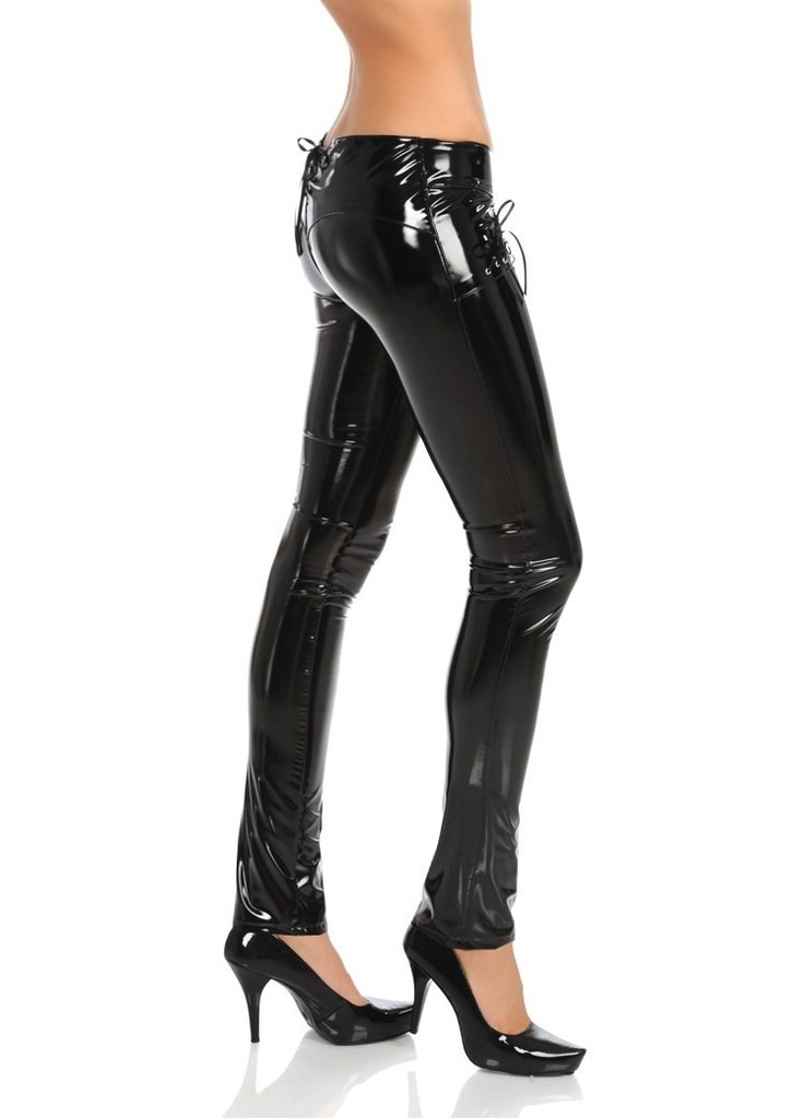 Rise Zip Slim Mujer Jeans Señora Negro Low Sexy Faux Leather Up Fit Hipster Brillante Pantalones Moda z56pFnqw