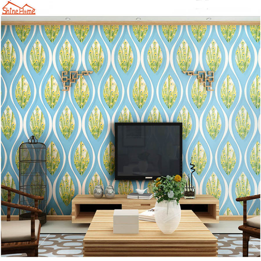 ShineHome-10m Peacock Feather Damask Large 3D Wall Murals Contact Paper Home Decor Living Room Bedroom Baby Wallpaper-Roll-Size shinehome large custom wahable wallpaper rock n roll music 3d cafe bar modern living room photo wall murals home contact paper