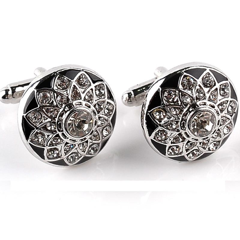 French Men Shirt Cuff Links Buttons Business Gifts Fine Jewelry Crystal Flower Shape Crystal Men Shirt Cufflinks Accessories