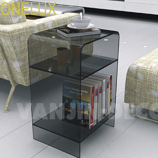 Multi Color Acrylic Nightstand With Magazine Rack, Lucite Bedside Cabinet Sofa  Tables
