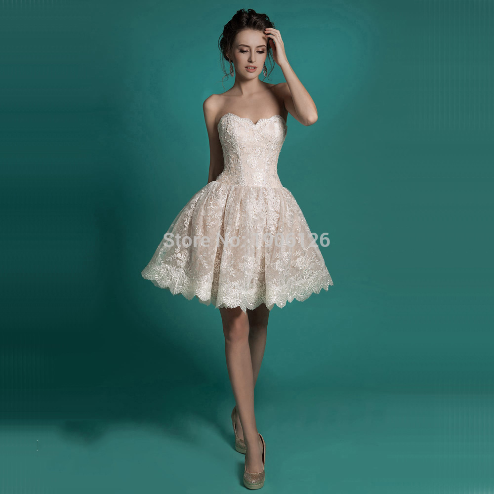 Light Champagne Lace Bride Dresses Short Wedding Dress Corset Back ...