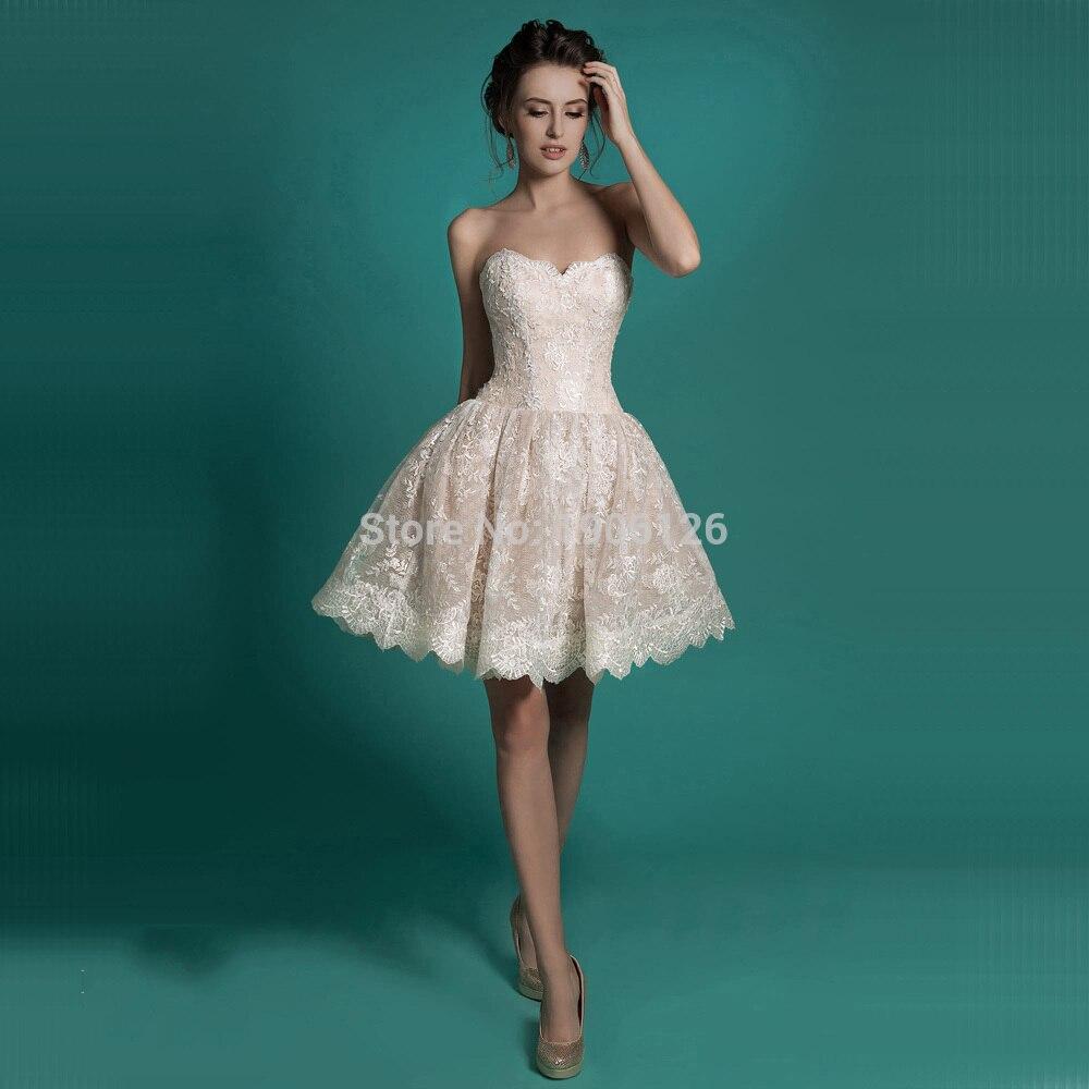 Champagne Strapless Lace Short Wedding Dress – fashion dresses