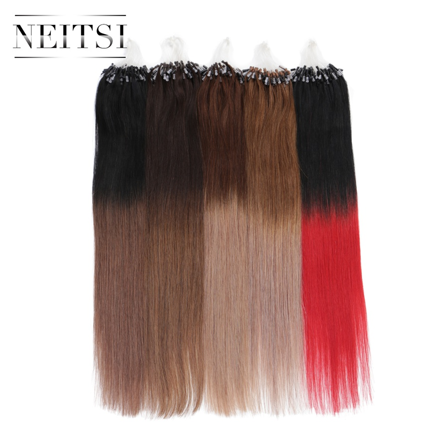 Neitsi Machine Made Remy Micro Loop Ring Hair Extensions 20 1g s 50g 100g 150g Ombre