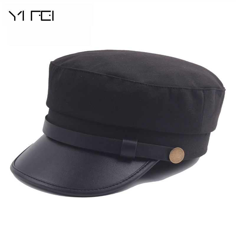 2018 New Fashion Sailor Ship Boat Captain Military Hats Peaked Cap Black Baseball  Caps Flat Hat For Women Beret Wool Hats -in Berets from Apparel ... d301ce0572c