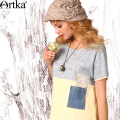 Artka Women's Summer New Vintage O-Neck Short Sleeve Loose Style Patchwork Casual All-match Tee SA15158X