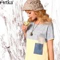Artka mujeres del verano nuevas de la vendimia del o-cuello de manga corta estilo flojo del remiendo del todo-fósforo ocasional camiseta sa15158x