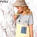 Das artka mulheres verão novo o-pescoço de manga curta estilo solto patchwork casuais todo o jogo do vintage tee sa15158x