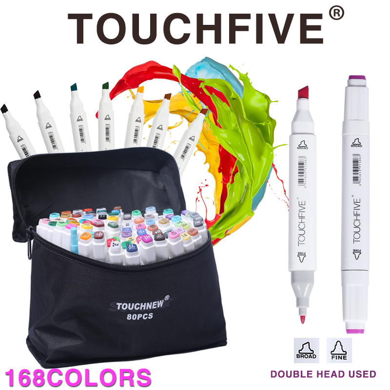 TOUCHFIVE 168 Colors Drawing Marker Pen Animation Sketch Copic Markers Set For Artist Manga Graphic Alcohol Based Markers Brush 24 30 40 60 80 colors sketch copic markers pen alcohol based pen marker set best for drawing manga design art supplies school