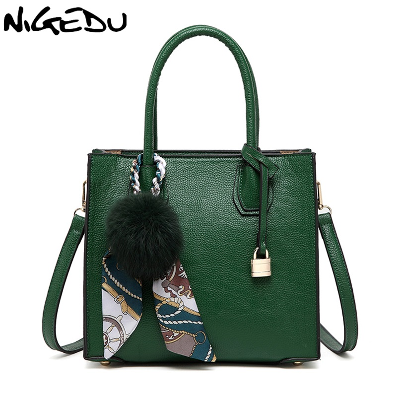 NIGEDU women handbag satchel of famous brands leather Shoulder bag luxury designer women totes Crossbody Bags with fur ball lafestin luxury shoulder women handbag genuine leather bag 2017 fashion designer totes bags brands women bag bolsa female