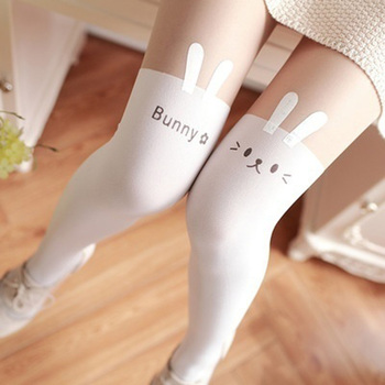 1 Pcs Lovely Women Girl Knee High Length Pantyhose Bunny Rabbit Tattoo Tights Pantyhose Hot Sale tights
