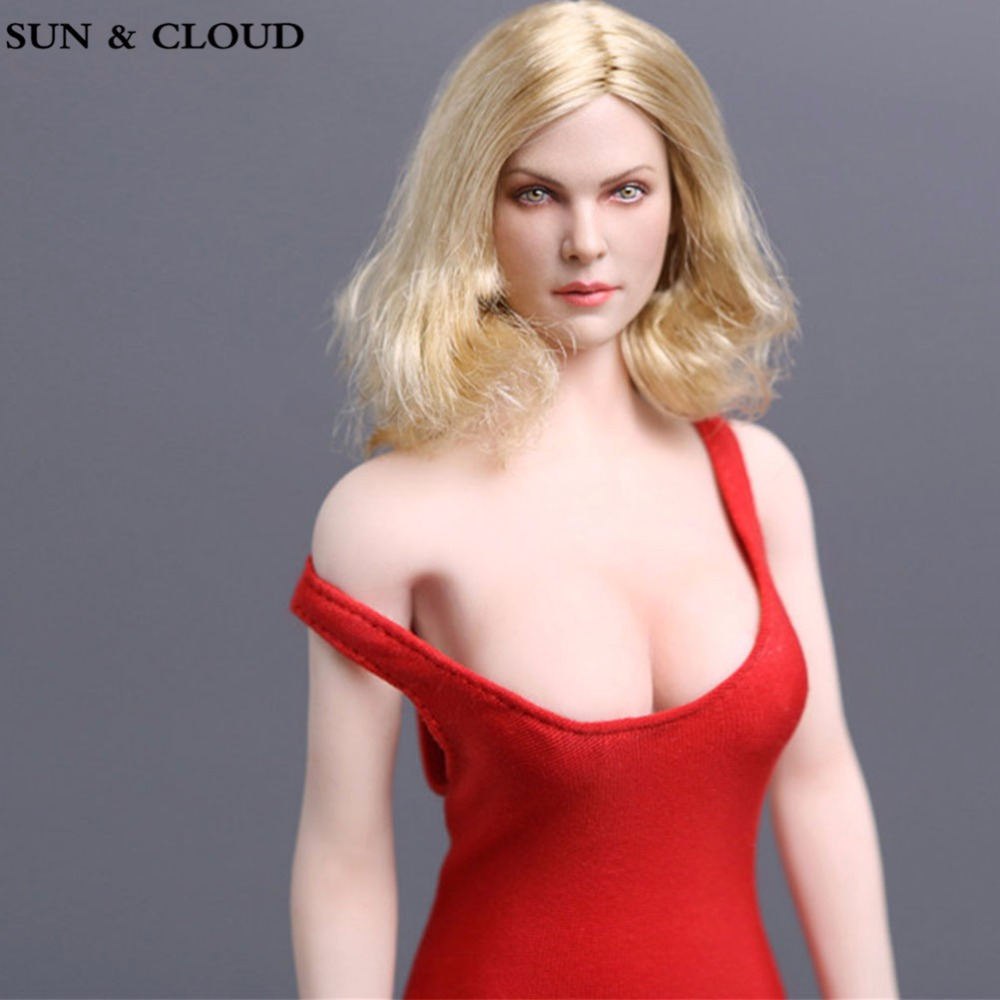 SUN & CLOUD 1/6 Scale European Female Head Sculpt With Blonde Short Hair new 1 6 scale female head sculpt km18 2