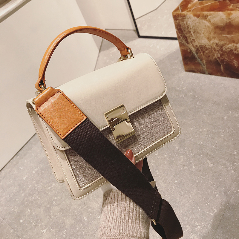 Lock handbag female New European and American fashion shoulder bag Wide strap Messenger small square package