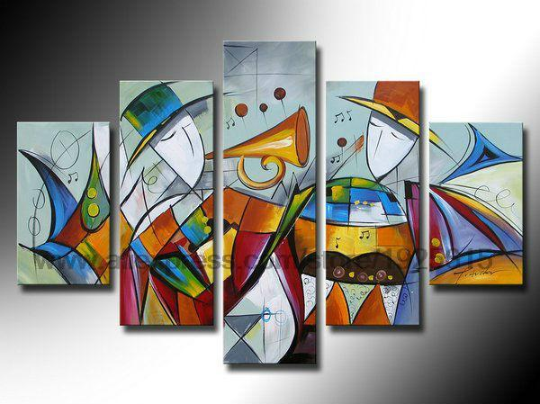 Wall Hanging High Quality Abstract Art Hotel Family 5pcs Group Painting On Canvas