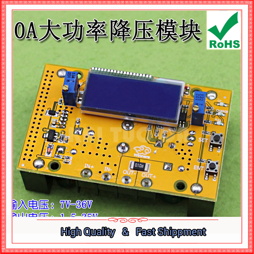 1pcs 10A DC high power adjustable step down buck power supply module constant voltage current LCD