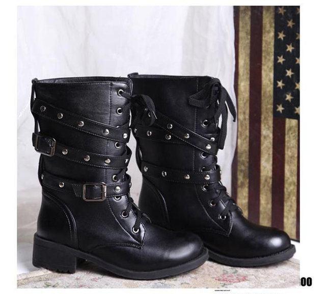2019 New Buckle Winter Motorcycle Boots Women British Style Ankle Boots Gothic Punk Low Heel ankle Boot Women Shoe Plus Size 43 18