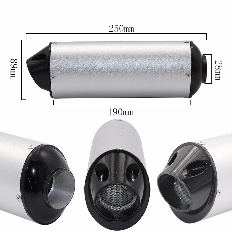 38mm 28mm Motorcycle Exhaust Muffler Tip Pipe for 125 150 160cc Dirt Pit Bike ATV black Grey Kayo BSE image