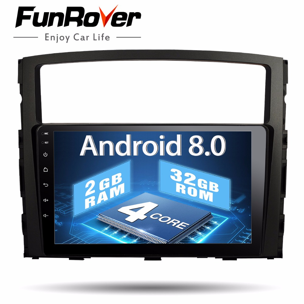 Funrover 9 Android8.0 2 din Voiture Lecteur Multimédia Pour MITSUBISHI PAJERO V97 V93 2006-2015 gps navi wifi radio magnétophone RDS