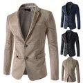 Hombres Chaquetas Casuales 2015 primavera nuevas características collar de gamuza color del golpe de bolsillo ocasional de los hombres chaqueta de traje de Vestir de Negocios de Alta calidad
