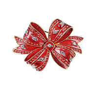 Women Fashionable Creative red enamel Ribbon tie Brooches rhinestone Bow knot Breast pin Party Jewelry