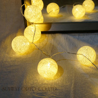 2 2M 20PCS Hard Cotton Ball Lights String For Garland Home Decoration Wedding Patio Indoor Lights