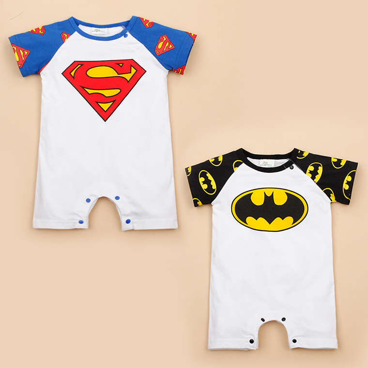 Free Shipping Retail 1 piece baby summer clothes Baby girl boy short sleeve Rompers Superman/Batman Cotton Infant baby jumpsuits high quality 100% cotton baby boy girl romper toddler superman rompers newborn cartoon clothes short sleeve for summer bebes