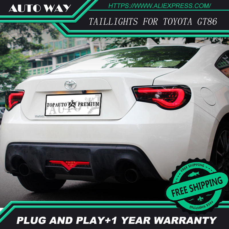 Car Styling tail lights case for Toyota GT86 Toyota 86 Toyota86 taillights LED Tail Lamp rear trunk lamp cover car styling tail lights for toyota highlander 2015 led tail lamp rear trunk lamp cover drl signal brake reverse