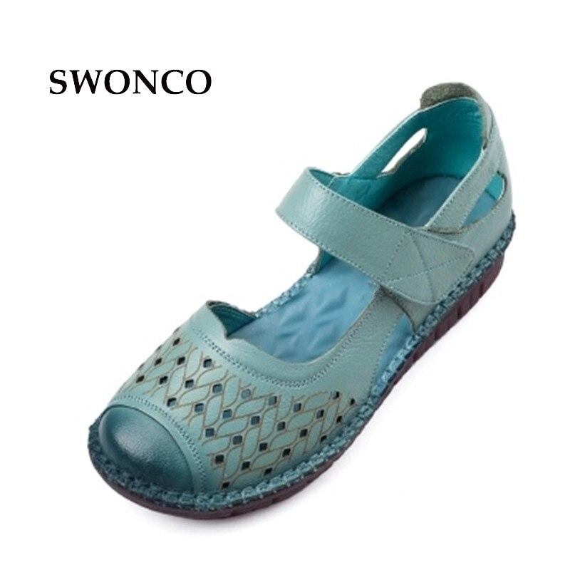 SWONCO Femmes Sandales de Style Vintage En Cuir Véritable À La Main Dames Chaussures D'été Femmes Sandales 2018 Nouvelles Chaussures Plates Occasionnelles