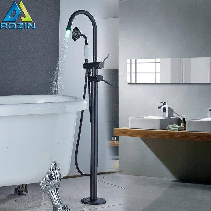 Freestanding Bathtub Faucet Led Light Bathroom Tub Sink