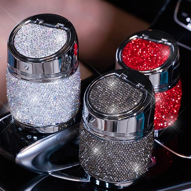 Cenicero de diamante hecho a mano para coche, Cenicero portátil sin humo, soporte Universal para cigarrillos, accesorios para coche