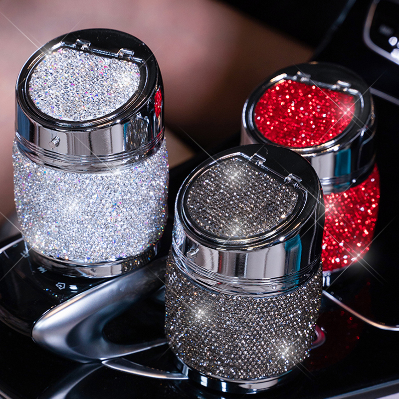 Handmade Diamond Car Ashtray Portable Smokeless Can Vehicle Cigarette Holder Smoke Universal Cylinder Holder Car Accessories