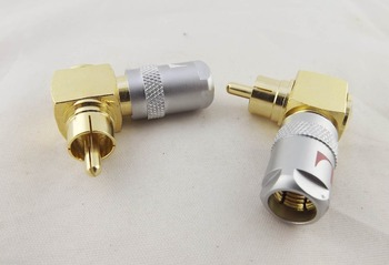5Pairs Gold Nakamichi Copper Right Angled RCA Male Plug Solderless Audio Connector